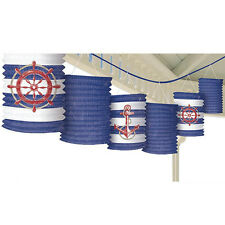 SUMMER Nautical Anchors Aweigh PAPER LANTERN GARLAND ~ Birthday Party Supplies