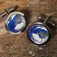 Unique PLANET EARTH CUFFLINKS world DESIGNER solar system ASTRONOMY suit SHIRT