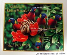 VANUATU RAINBOW LORIKEET STAMPS MINIATURE SHEET PARROT BIRD BIRDS WILDLIFE