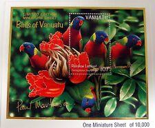 VANUATU RAINBOW LORIKEET STAMPS MINIATURE SHEET PARROT BIRD BIRDS WILDLIFE