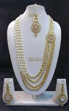 Bollywood Indian Ethnic Designer Gold Plated Fashion Kundan Pearl Jewelry Set