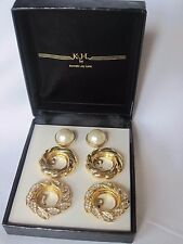 Changeable Gold-Tone Faux Pearl Earrings by KJL (Kenneth Jay Lane), New in Box