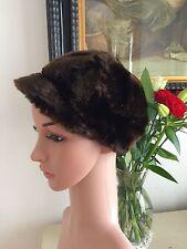 Genuine Vintage 1960s Baker Boy Cap Faux Fur Pristine Mod Gogo Mini Twiggy Cilla