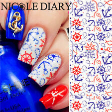 1 Sheet Nail Art Water Transfer Decal Manicure Sticker Anchor Theme Tips ND-39