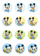 12 Cute Baby Mickey Mouse Edible Wafer Paper Cupcake/ Cake Toppers 50mm diameter