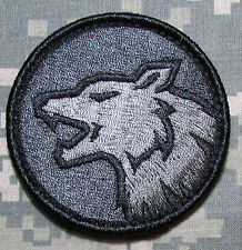 WOLF HEAD FIERCE DOG K9 TACTICAL MORALE ISAF ARMY MILITARY ACU DARK VELCRO PATCH