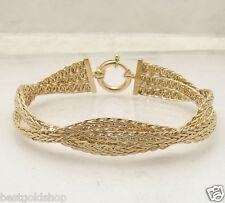 "7.25"" Triple Woven Wheat Spiga Chain Link Bracelet Real 14K Yellow Gold HSN"
