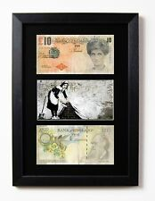 2 FRAMED & MOUNTED DIFACED TENNERS £10 NOTE BANKSY MAID SWEEPER PRESENTATION