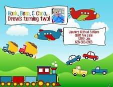 Cars Trucks Trains Planes Birthday Party Invitation Any Colors Add Photo