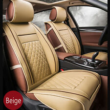 2PCS Luxury Front Seat Cover PU Leather Car Seat Cover Cushion Protector Beige