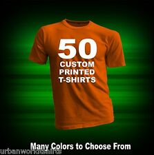 50 CUSTOM PRINTED T-SHIRTS / SCREEN PRINTING ON 2 SIDES / ANY COLOR T-SHIRT