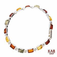 MULTI BALTIC AMBER STERLING SILVER 925 JEWELRY BRACELETS BEAUTY STONE, KAB-B22