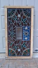 ANTIQUE LEADED AND STAINED GLASS WINDOW,FRAMED ,SPIDER WEB DESIGN IN CORNERS