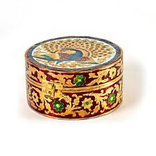 "UFC Mart Traditional Meenakari Art White Metal Round Dry fruit Box 6""x 6"""