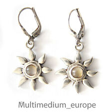 Silber Ohrringe Ohrhänger Blume Mondstein silver earrings flower moonstone