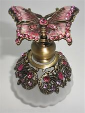 Old World Pink Butterfly Frosted Scalloped Glass Perfume Bottle