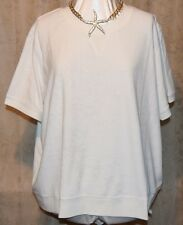 QVC DENIM & CO SOFT SHORT SLEEVE TERRY SWEATSHIRT WHITE COTTON/POLY 3X NEW/TAG