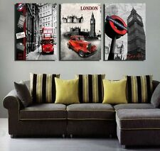 Home Decor London City Scenery Bus Oil Wall Painting Art Canvas Prints Modern