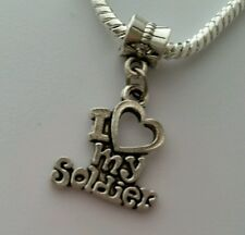 I Love My Soldier Heart Army Dangle Charm Bead Silver for European Bracelet