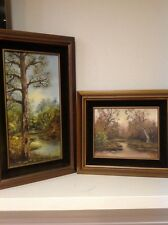 2 Stunning Vintage Oil Paintings Landscape Forrest Detailed Artist Martel Signed