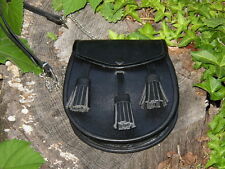 New Black Scottish Celtic Highlander Sporran Kilt Bag with Belt
