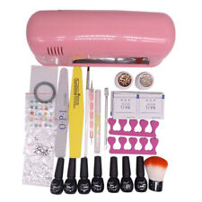 Full Pro Nail Art DIY Set Soak Off Gel Polish 9W UV Lamp Kit  Manicure Set