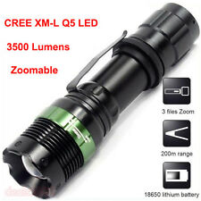 3500 Lumen Zoomable 3 Modes CREE XM-L Q5 LED Flashlight Focus 18650 Torch Light
