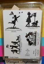 NEW Stampin Up THANKFUL THOUGHTS Silhouette Children Flag Girl Boy Dog July 4