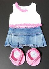 BABW Build A Bear Pink Lace Tank Top Blue Jean Pleated Skirt Pink Thong Sandals