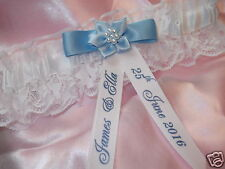 PERSONALISED WEDDING GARTER 'SOMETHING BLUE' BOXED