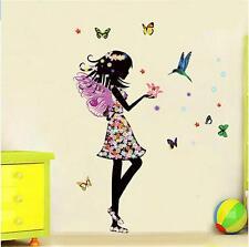 Sticker Fée Papillons Autocollant Mural Enfants Filles Chambre Stickers Décor