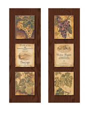 Wine Country Wine Label and Grape Panels; Two 8 x 20 Poster Prints