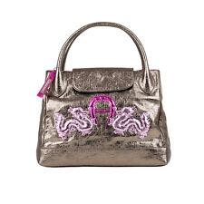 Aigner Leder Handtasche grey gold UVP 849,00€!