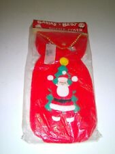 VTG Santa Claus Bottle/Gift Cover Fuzzy Fur felt Santa's Best New in Pkg 1960s