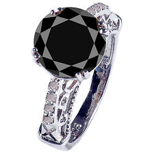 4.30ct AAA BLACK ROUND MOISSANITE & NATURAL RAW DIAMOND 925 SILVER RING SIZE 7