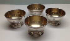 4 TIFFANY & CO. Sterling Silver Makers Footed Salt Cellars With Gold Washed Bowl