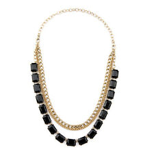 Jet Black Octagon Resin Convertible Necklace Multi Ways Wear for Dinner CI Sale