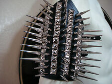 LEATHER  SPIKED AND STUDS ARMBAND.BLACK METAL...(MDLA0317).....SATAN