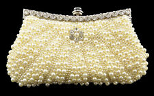 Women's Pearl Diamante Evening Bag Clutch Bridal Wedding Purse Shoulder Prom