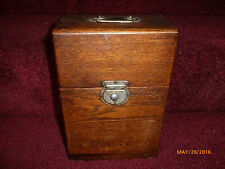 Antique Oak Wood Barber's Razor Box Holds 18 Razors