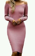 New dusky pink Off Shoulder Long Sleeve Rib Knit Dress Size 10-12-14