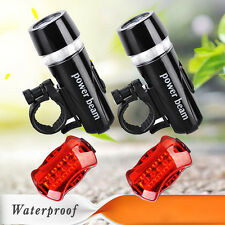 2x 5 LED Lamp Bike Bicycle Front Head Light +Rear Safety Waterproof Flashlight~D