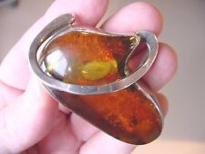PP90-1) big oval ORANGE AMBER Poland sterling SILVER Pendant PIN Jewelry crystal