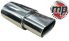 Stainless Steel Sports Muffler Flat Oval Box And Square End Exhaust Tip #SWUXE15