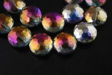 5pc 18mm Round Discoid Faceted Crystal Glass Loose Spacer Beads Purple Coloried
