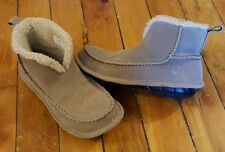 CROCS womens 6 mens 4 beige sueded ankle boots moccasins loafers casual