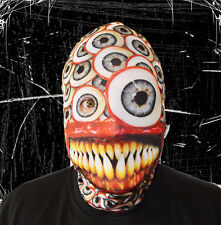3D LARGE EYEBALL YELLOW TEETH EFFECT FACE SKIN LYCRA FABRIC FACE MASK HALLOWEEN