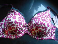 BNWL POU MOI HOT PINK ANIMAL PRINT SATIN FIRM SUPPORT BALCONY BRA 34DD £20