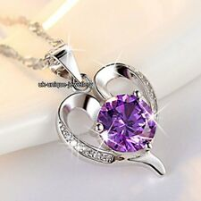 BLACK FRIDAY DEALS - Xmas Gift For Her 925 Silver Purple Crystal Heart Necklaces