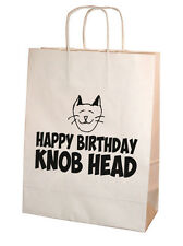 Funny Rude Happy Birthday Knob Head Kraft Paper Gift Bag 25cm x 31cm Medium